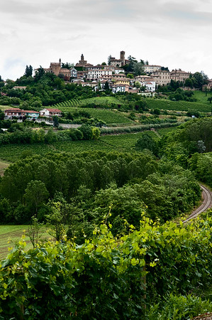 Gothic view of the town of Neive from the balcony of the Prinsi winery in the Barbaresco wine region of the Piedmont, Italy.