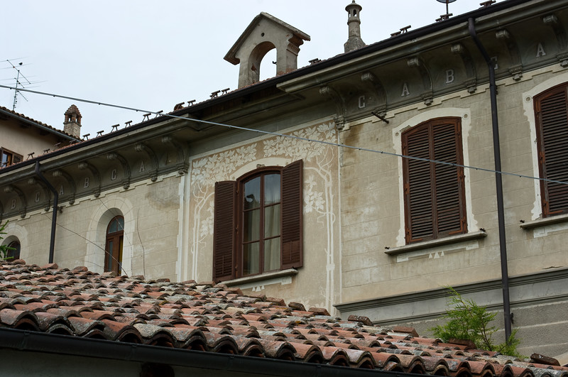 Historic architecture of a school building in Serraluna d'Alba in the Piedmont wine region of Italy.