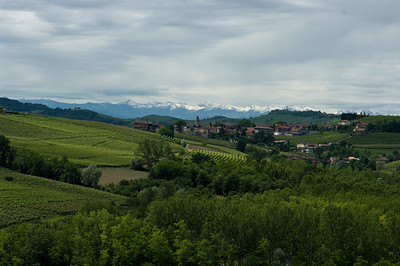 View of the Alps from the balcony of the Gagliardo Winery in the Piedmont region of Italy.