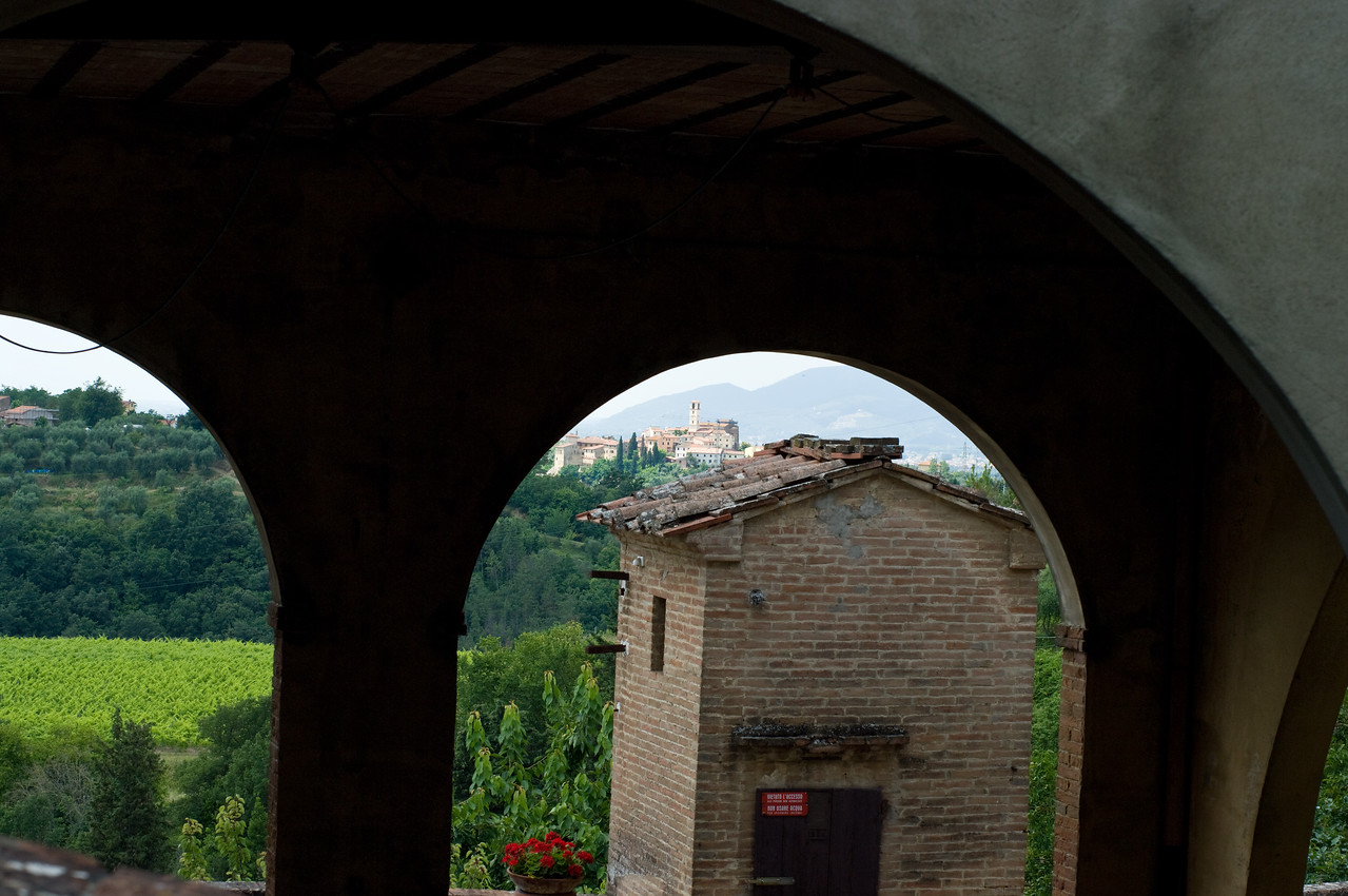 Arches at the Sangervasio Castle and winery in Tuscany.