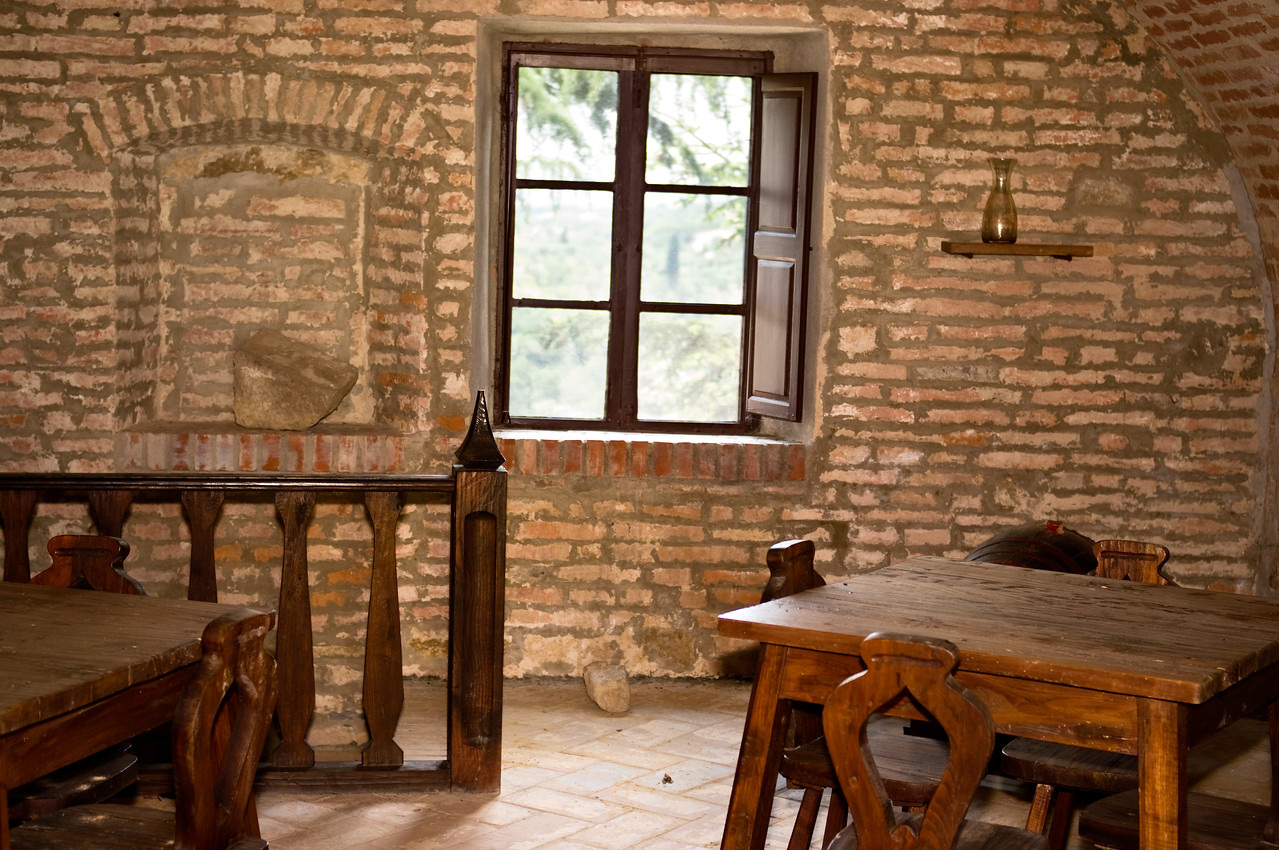 Upstairs loft in the cellar of the Sangervasio Winery and castle in Tuscany.
