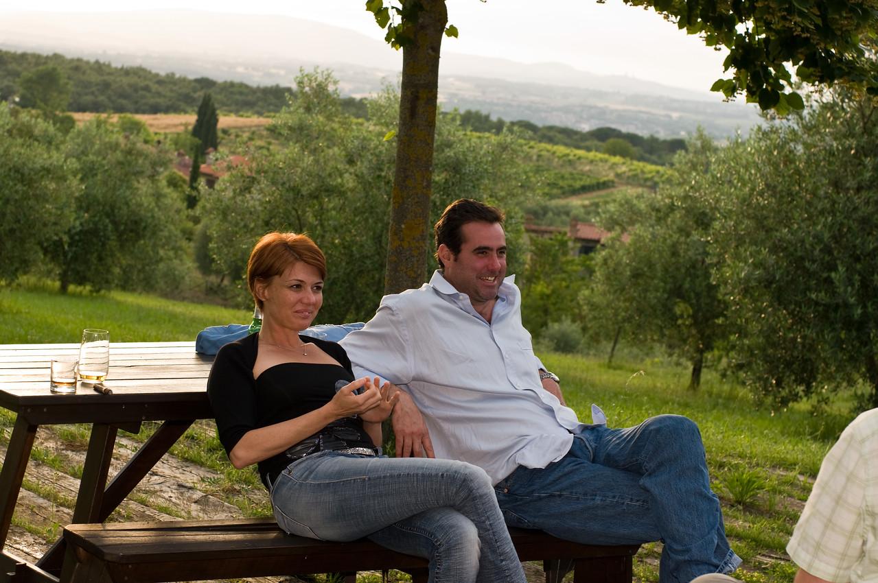 Cocktails at Castel Bigozzi, a resort hotel in Strove, Tuscany.