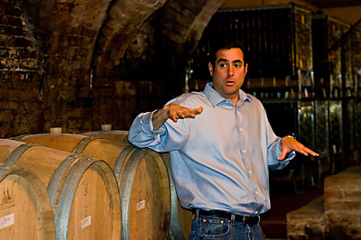 David Lynch in the cellars of the Prinsi winery in Barbaresco.