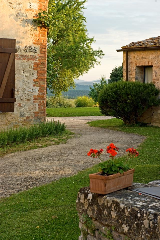 Castel Bigozzi at sunset, a resort hotel in Strove, Tuscany.