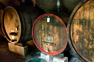 Barrels of Fanetti Vino Nobile di Montepulciano wine in Tuscany, Italy.