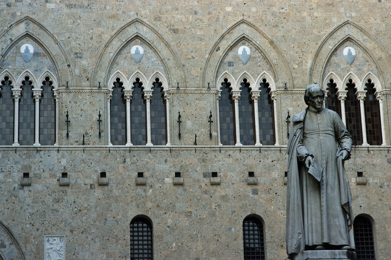 Cathedral and statue in Sienna, Italy.