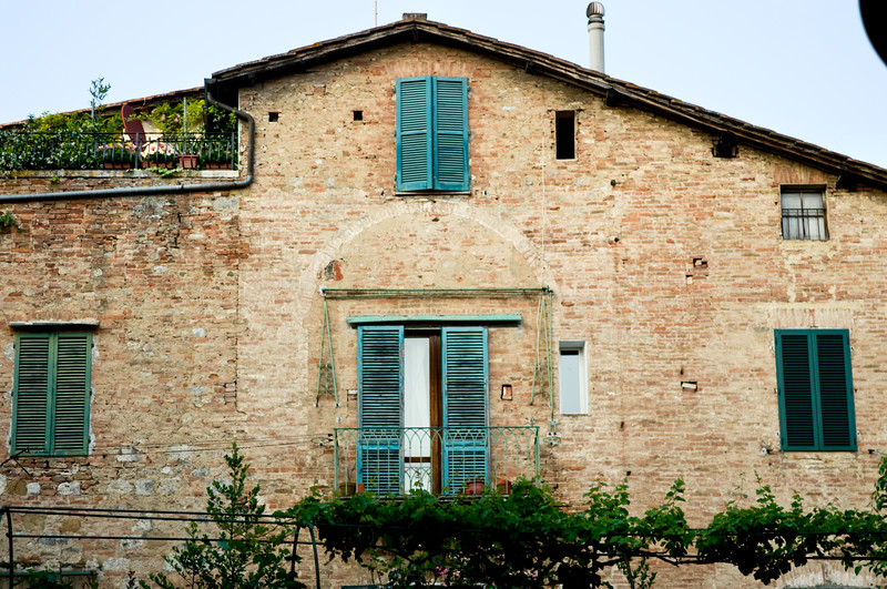 Historic homes in Sienna, Italy in Tuscany.