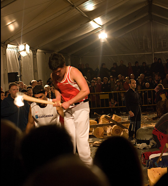 Wood chopping contest in Basque festival.<br /> (Pentax K20D with FA 50mm f/1.4 lens)