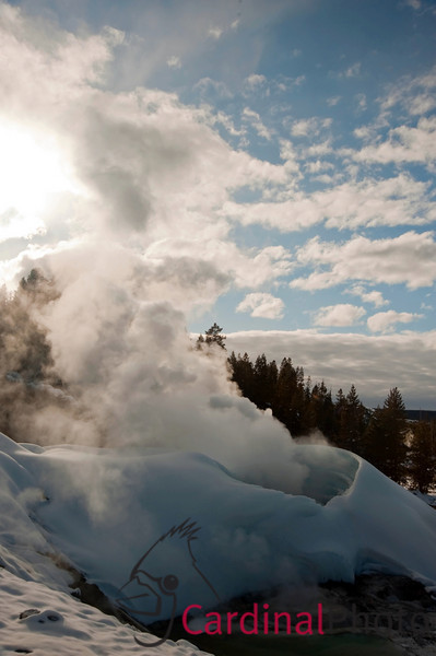 Snow Volcano at Norris Geyser Basin Geothermal Area in Yellowstone National Park showing Geysers and Hot Pools, Landscape Scenic