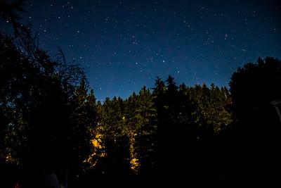 Moonlight lighting up the hillside as the moon rises.