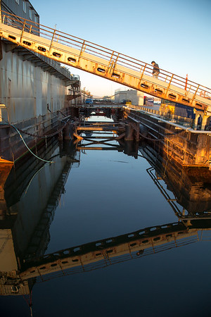 A windless Falkland morning provides perfect reflections at FIPASS, Stanley Harbour, Falkland Islands