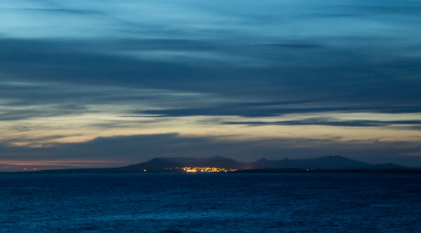 The lights of Stanley as seen from RRS James Clark Ross on route from Stanley to Mare Harbour in the Falkland Islands