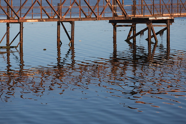Old jetty and reflection, Stanley Harbour, Falkland Islands