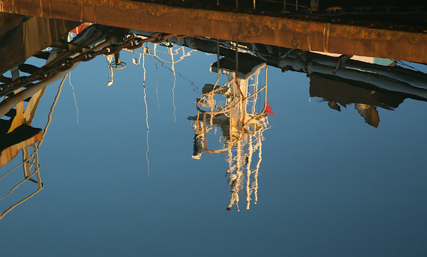 FIPASS reflections of ships superstructure, Stanley Harbour, Falkland Islands