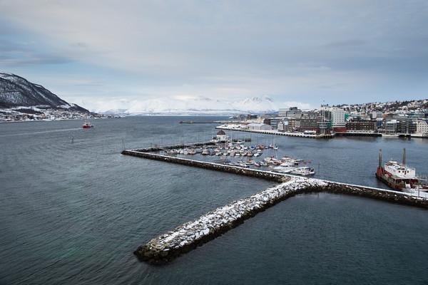 Tromso harbour and mountains