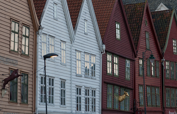 Windows at sunrise, Bryggen, Bergen
