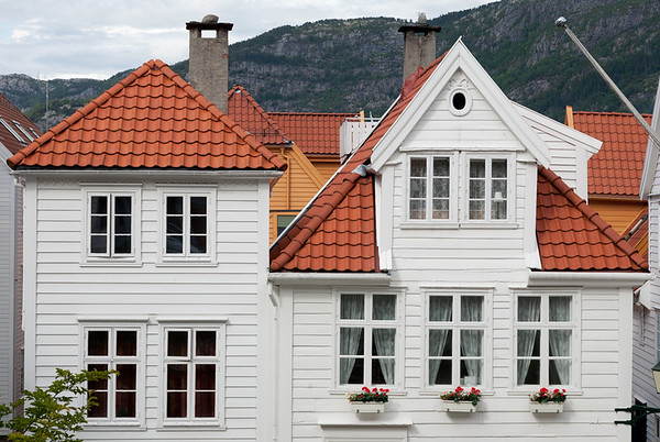 White wood houses, Strandgaten, Bergen