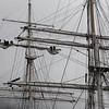 Working on the yardarm of the tall ship, Statsraad Lehmkuhl