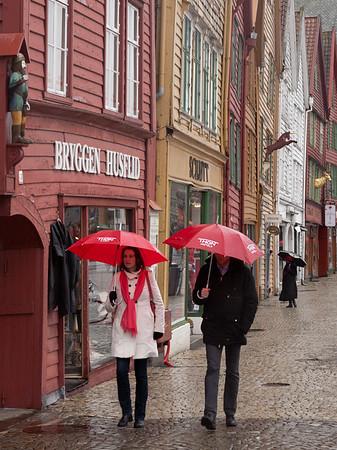 Bryggen and umbrellas - 3