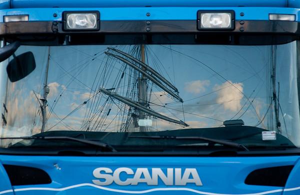 Scania reflections of Statsraad Lehmkuhl