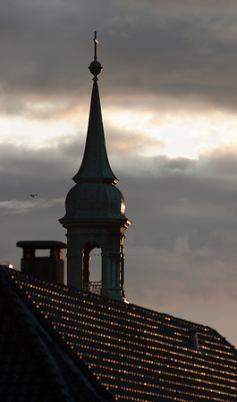 Sunlit church tower, Bergen