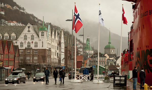 Bergen quayside in the rain