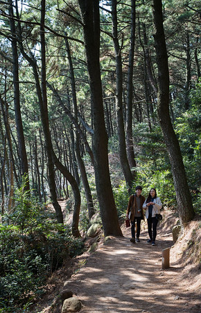 Sunday strollers on the Moontan trail, Haeundae Beach, Busan, Korea