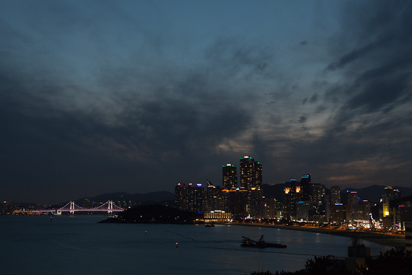 Haeundae Beach and Bay at twilight