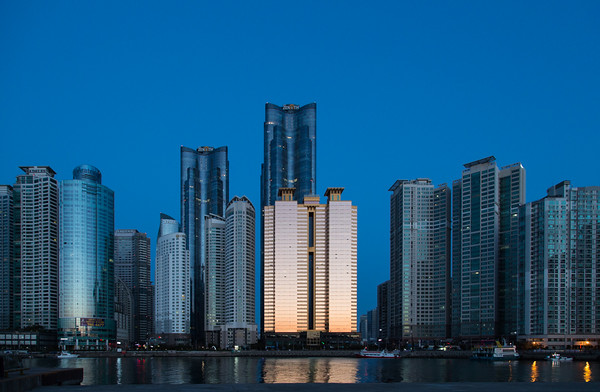 Pre-dawn light on Haeundae Beach skyscrapers