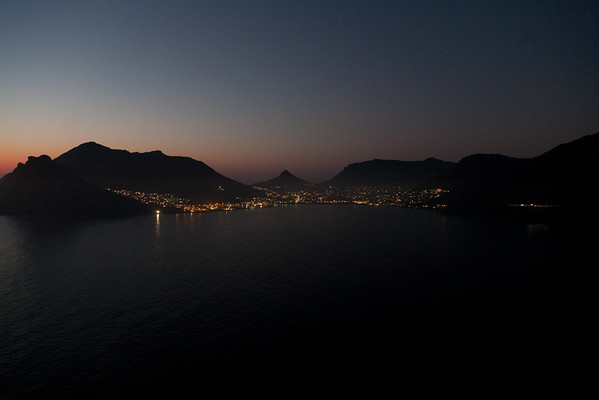 The lights of Hout Bay after sunset