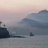 Dawn mist enshrouding El Faro, Mazatlan