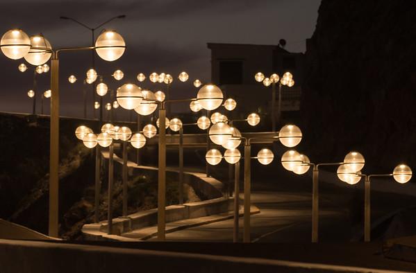 Street lights wind their way along El Paseo del Centenario near El Faro in Mazatlan.