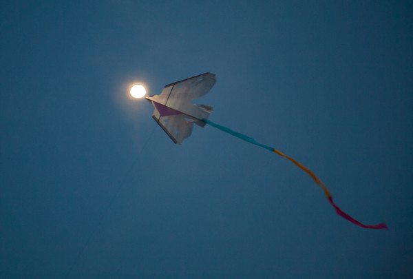 Kite and moon, Mazatlan
