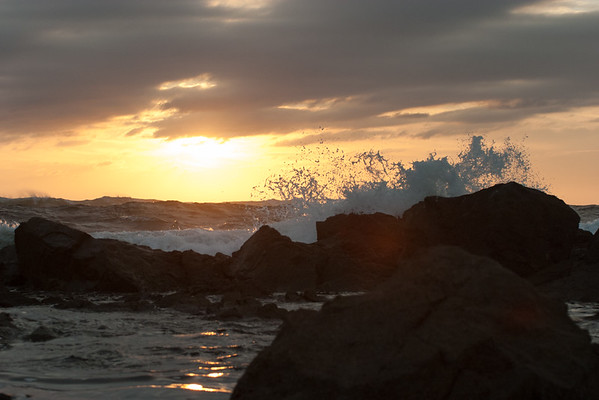 Waves, rocks and Mazatlan sunset