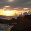 Waves, rocks and Mazatlan sunset