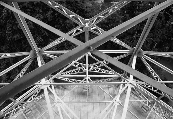 Petrin tower steelwork abstract, Prague