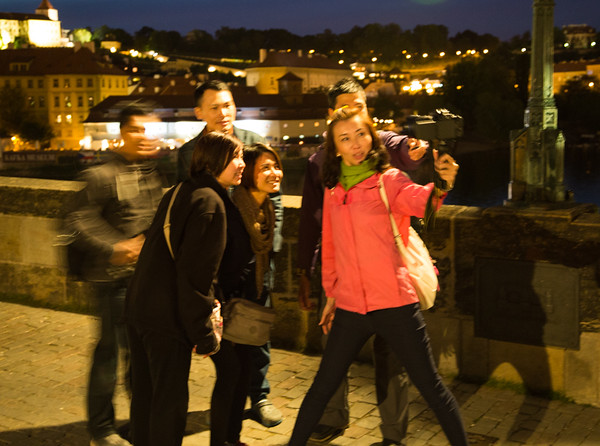One of a million selfies taken on Charles bridge, Prague