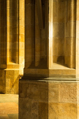 Detail of columns in St. Vitus Cathedral, Prague