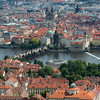 Charles bridge, river and town from Petrin tower, Prague