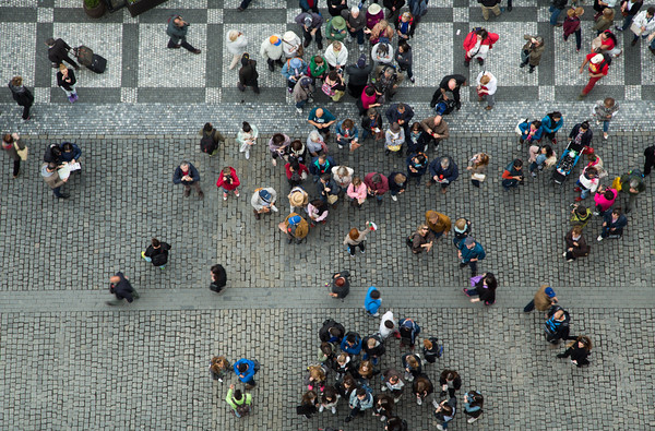 People waiting for the hourly display from the 600-year-old Astronomical Clock taken from the top of the tower of the Old Town Hall, Prague
