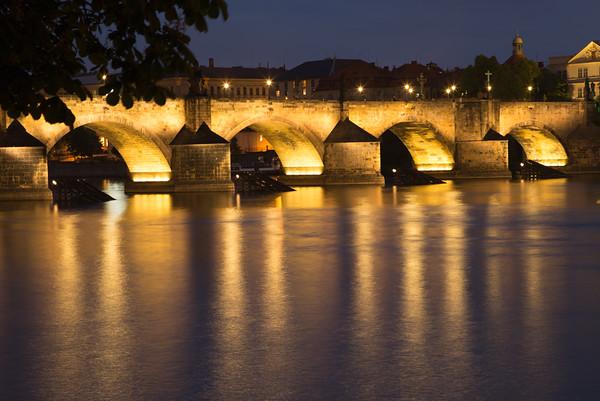Floodlit Charles bridge, Prague, taken from southwest bank
