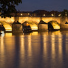 Floodlit Charles bridge, Prague, taken from southwest bank