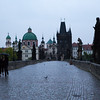 Walking in the rain on Charles Bridge, Prague
