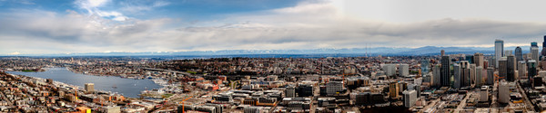 Panorama from Space Needle - Union Lake to downtown Seattle