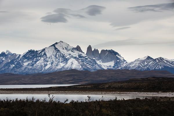 Cuernos del Paine stand behind Laguna Amarga, Patagonia