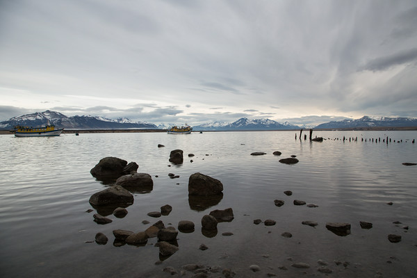 Mountains of Torres del Paine National Park as seen from the water front in Puerto Natales,  Chilean Patagonia.