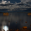Moon set over Puerto Natales, Chile