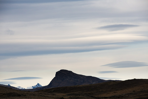 Lenticular clouds over mountains in Torres del Paine National Park, Chilean Patagonia