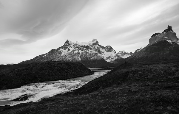 Salto Grande waterfall, Lago Nordenskjold and the peaks of Torres del Paine National Park, Chilean Patagonia