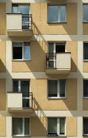 Shadow stairways; apartment block on Krucza Street, Warsaw, Poland